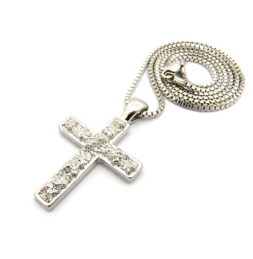 Men's Nugget Cross Pendant Chain Rhodium Silver