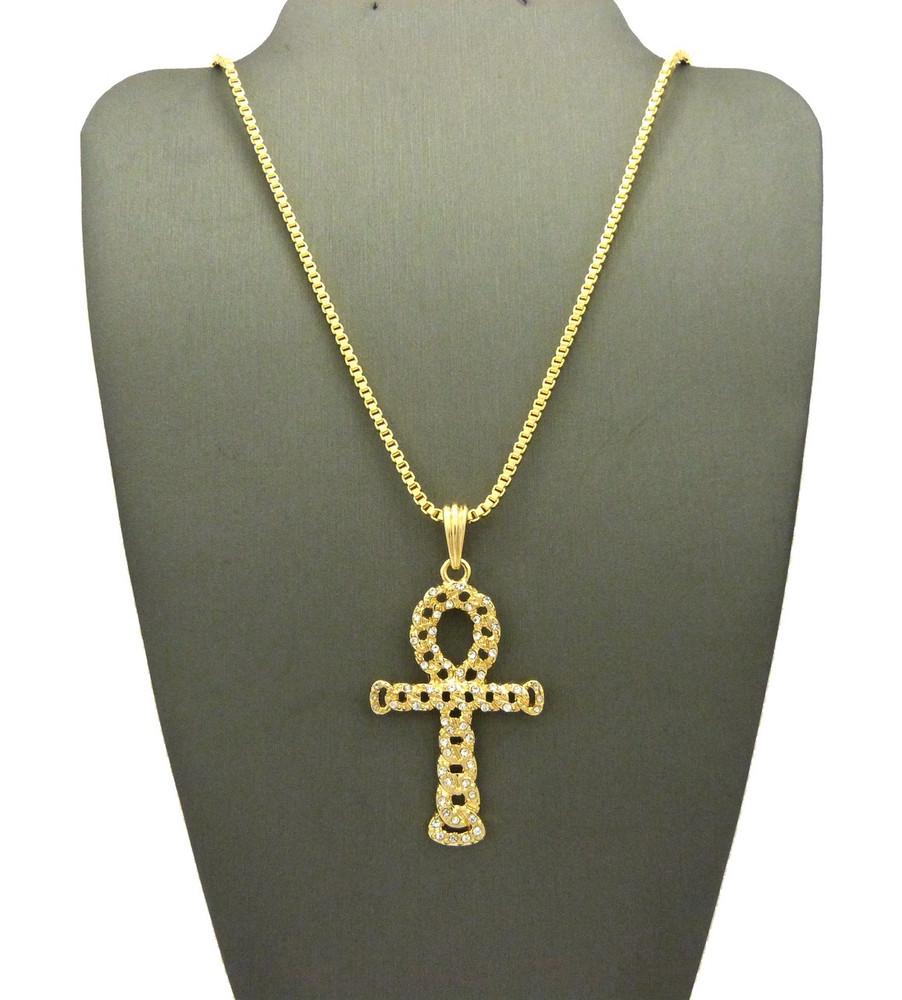 Ancient Egypt Hollow Ankh Cross Pendant Box Chain 14k Gold