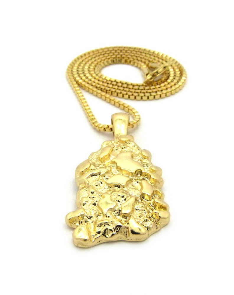 Hop gold nugget pendant box chain 14k gold hip hop gold nugget pendant box chain 14k gold mozeypictures Image collections