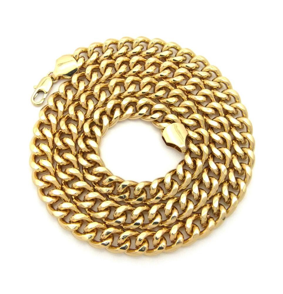 Men's Hip Hop 10mm Classic Cuban Link Chain Necklace Gold