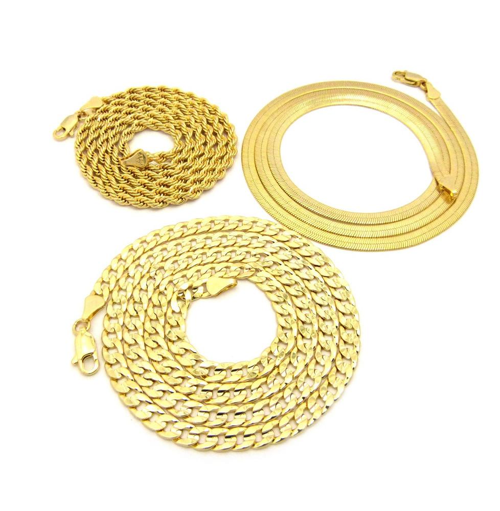 Hip Hop Herringbone Cuban Rope Chains Necklace Set
