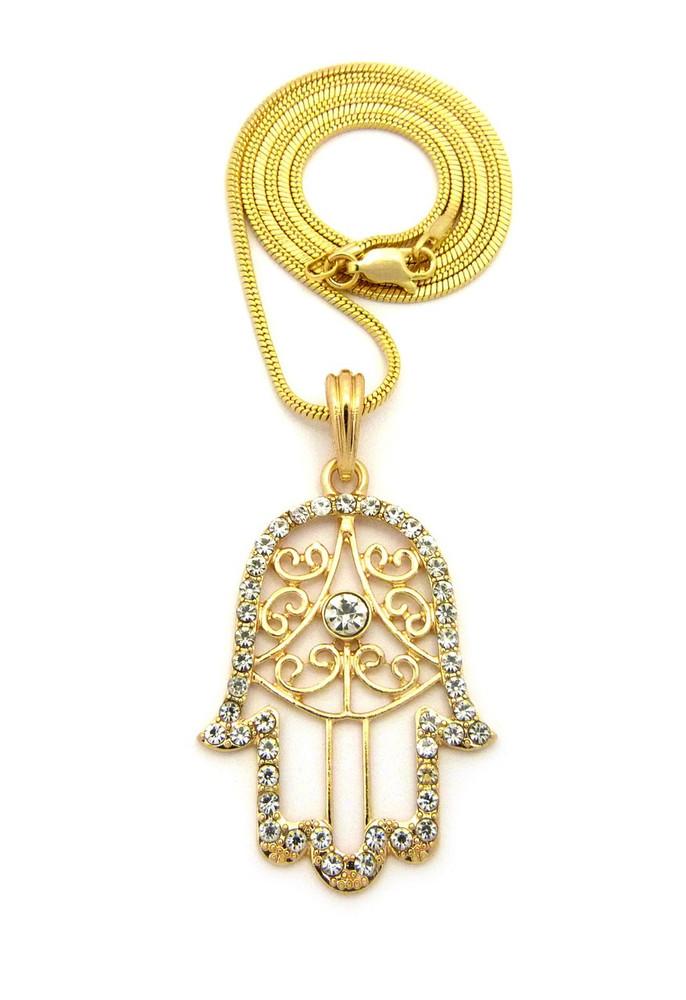 Hamsa Hand Diamond Cz Amulet Bling Pendant w/ Snake Chain