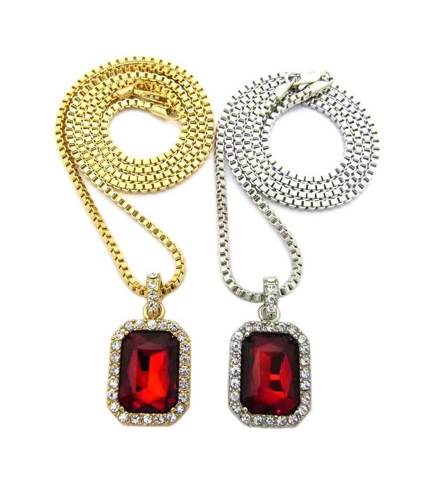 Hip Hop Red Onyx Shield Pendant w/ Box Chain Gold Silver