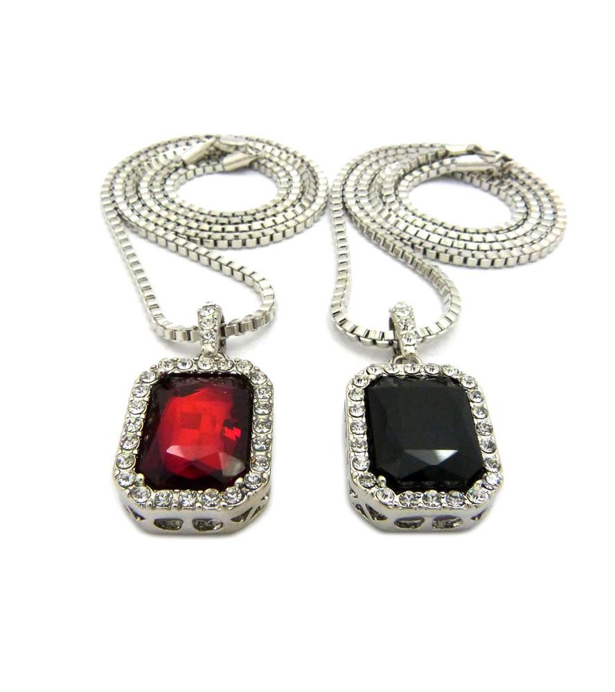 Hip Hop Red Black Onyx Shield Pendant w/ Box Chain Gold Silver