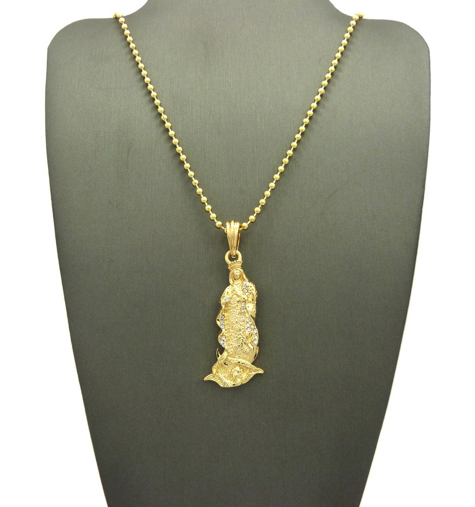 Our Lady Of Guadalupe 14k Gold Pendant Chain Necklace