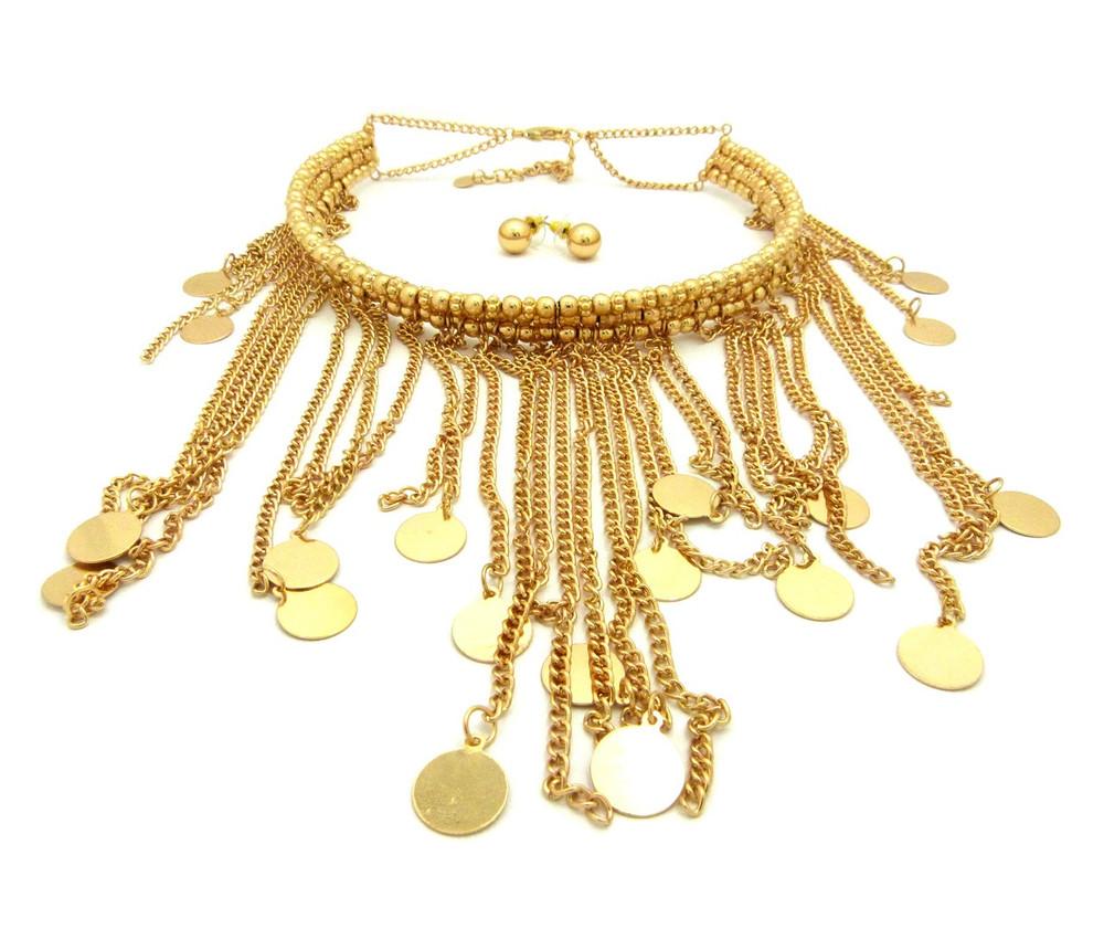 Rainfall Dangle Choker Chain Necklace Gold