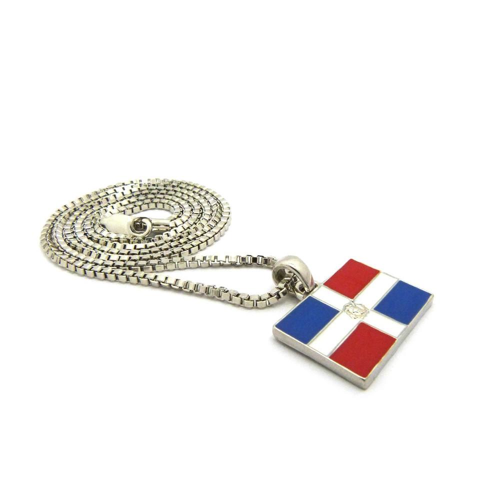 Dominican Republic Rhodium Silver Flag Pendant Chain