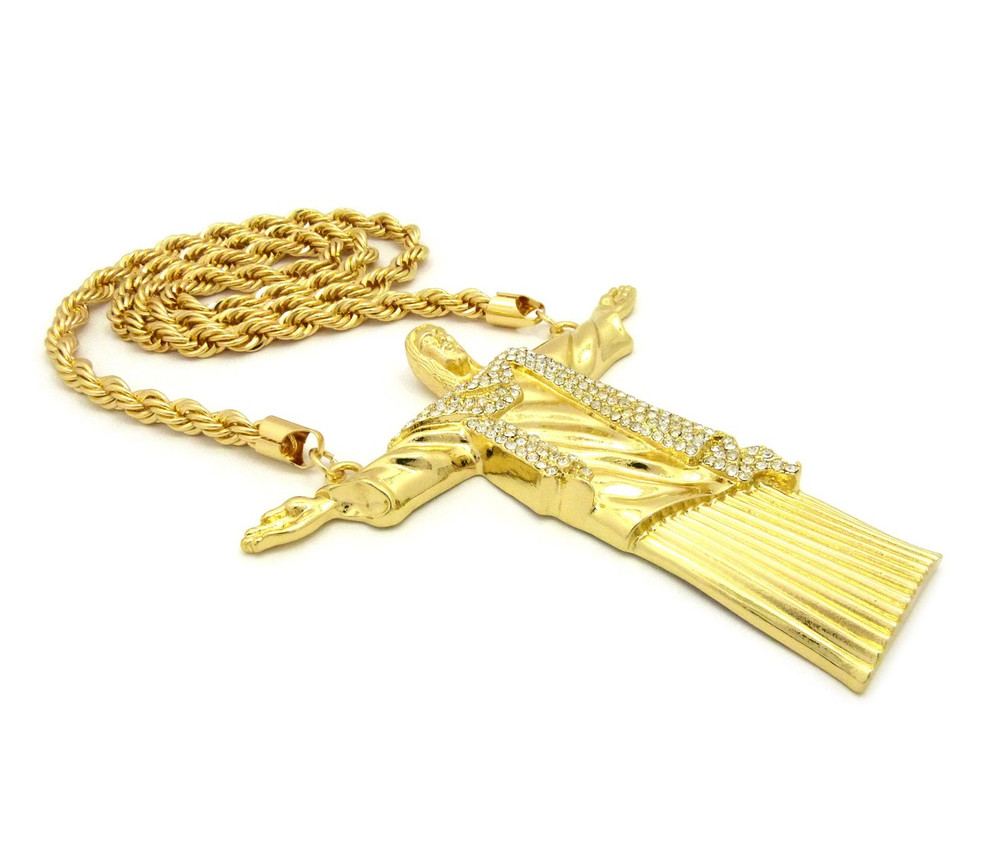 Christ the Redeemer Hip Hop Rope Chain Pendant 14k Gold