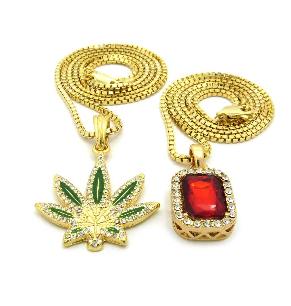 Weed Marijuana Leaf Ruby Red Gemstone Diamond Cz Pendant