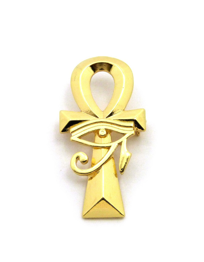 Eye Of Ra Ankh Cross 14k Gold Egyptian African Brooch Pin