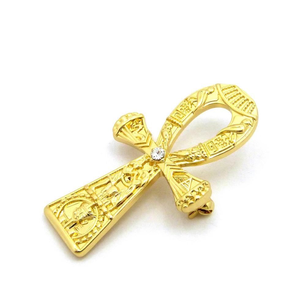 Hieroglyphs Ankh Cross 14k Gold Egyptian African Brooch Pin