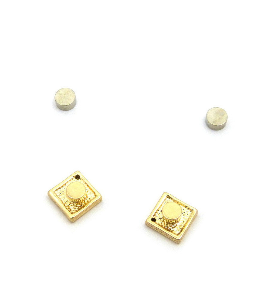 Mens Total Iced Out Square Diamond Cz Magnet Earrings Gold