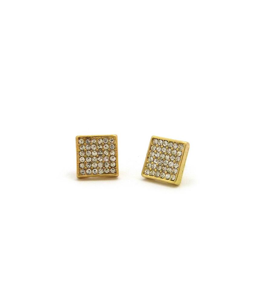 Square Diamond Cz Hip Hop Bling Magnet Earrings