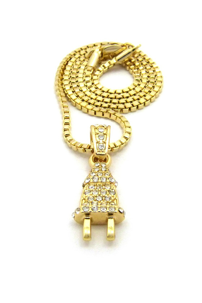 14k Gold Diamond CZ Energy Power Plug  Necklace