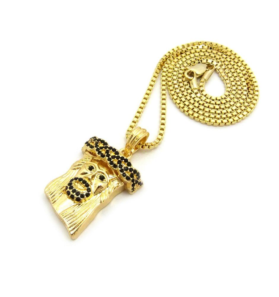 14k Gold Black Stone Jesus Face Pendant Box Chain Necklace