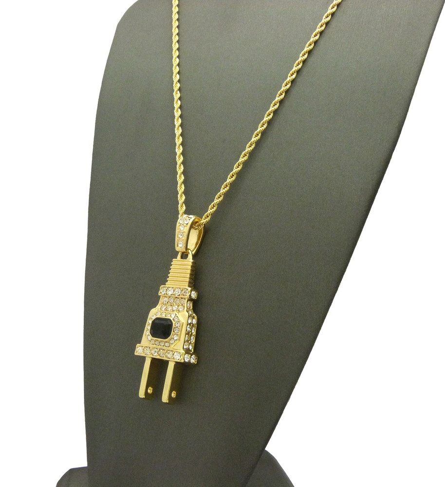 Coke Boys Inspired Iced Out Power Plug Pendant w/ Rope Chain
