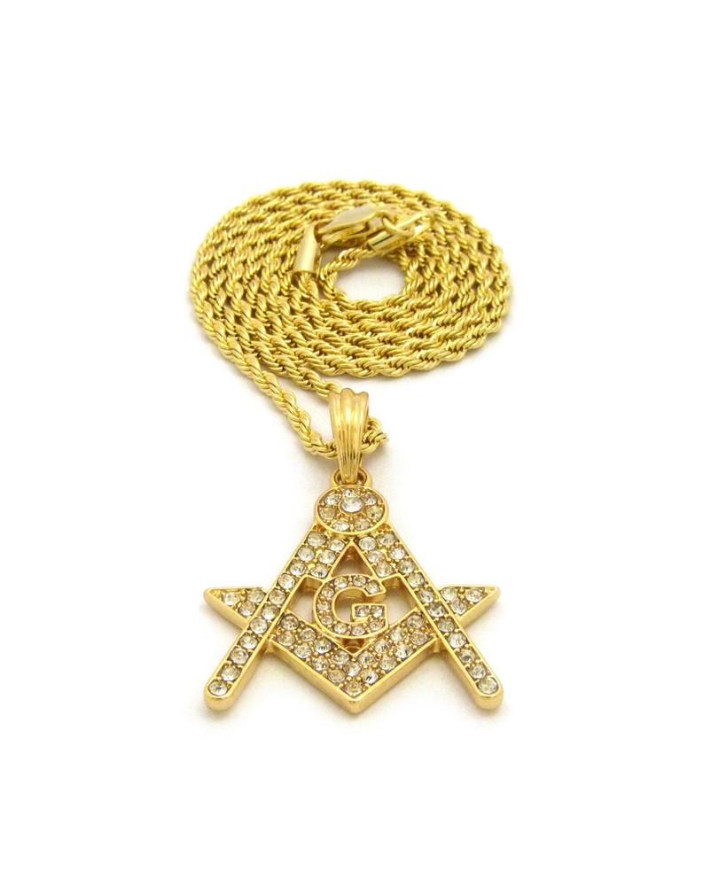 Free Mason Compass Square Diamond Cz Logo Pendant w/ Rope Chain