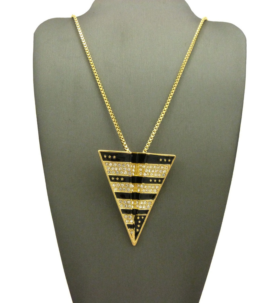 14k Gold Jay Z Inspired Paper Planes Pendant Box Chain Necklace