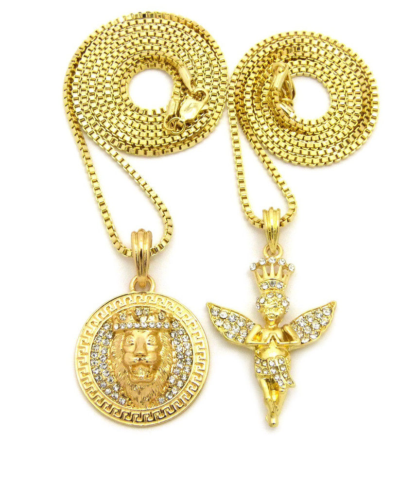 14k Gold King of Praise Guardian Angel Lion of Judah Pendant