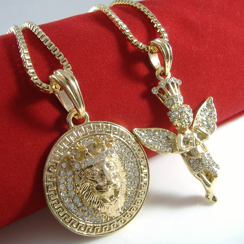Lion Of Judah Simulated Diamond Cherub Angel Pendant Gold
