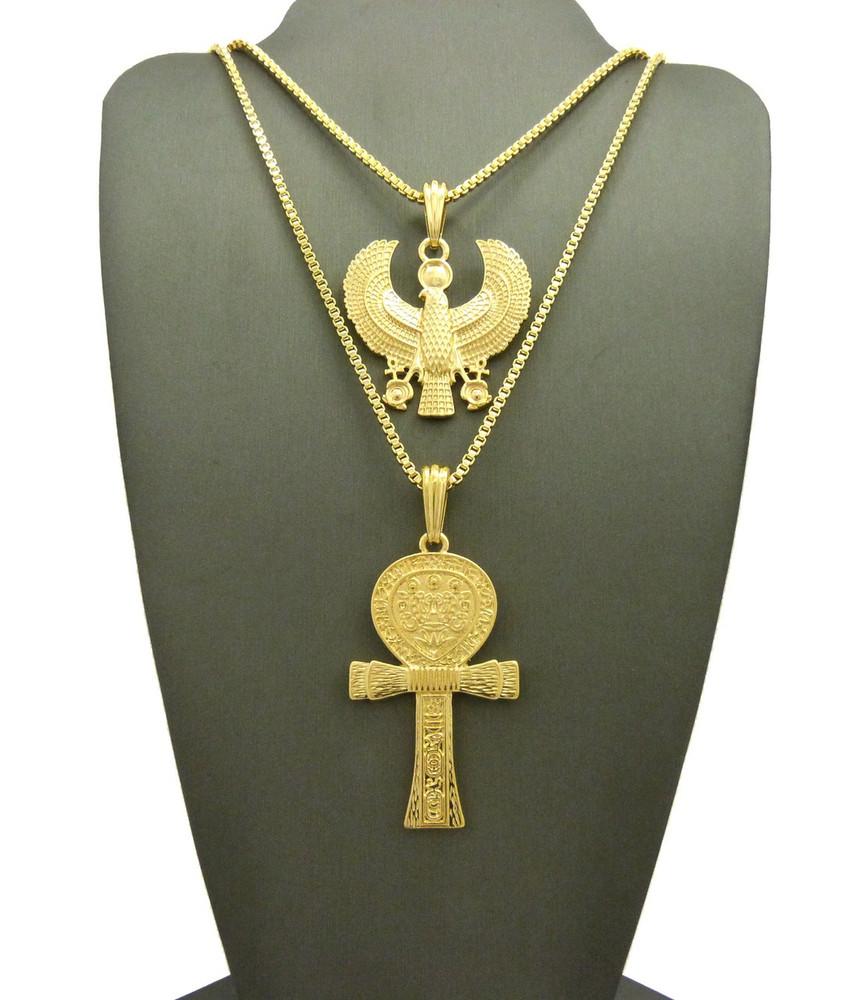 14k Gold Ankh Falcon of Tutankhamun African Egyptian Pendant