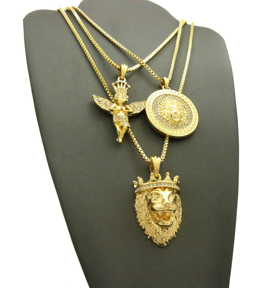 Lion Of Judah 14k Gold Good Vs Evil Medusa Head Angel Pendant Set