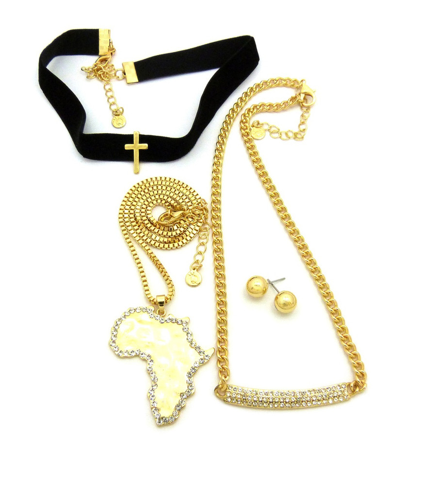 Africa Chain w/Elastic Choker Necklace Earrings Set