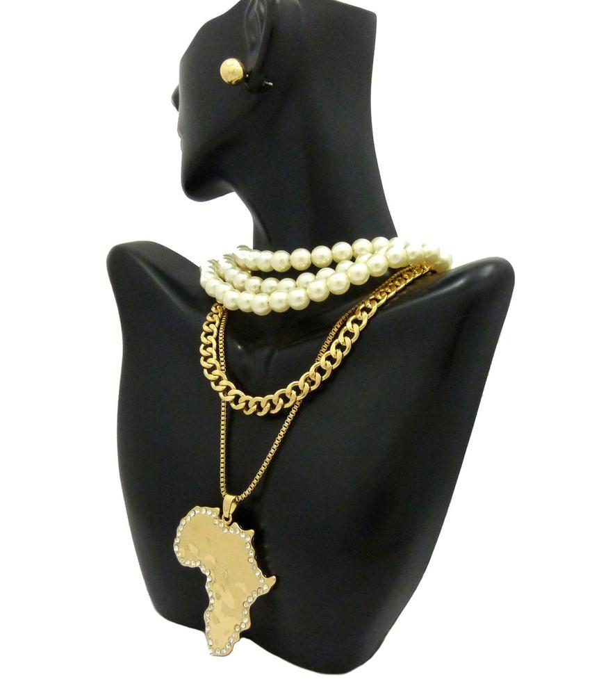 Africa Chain w/Pearl Choker Necklace Cuban Chain Earrings Set