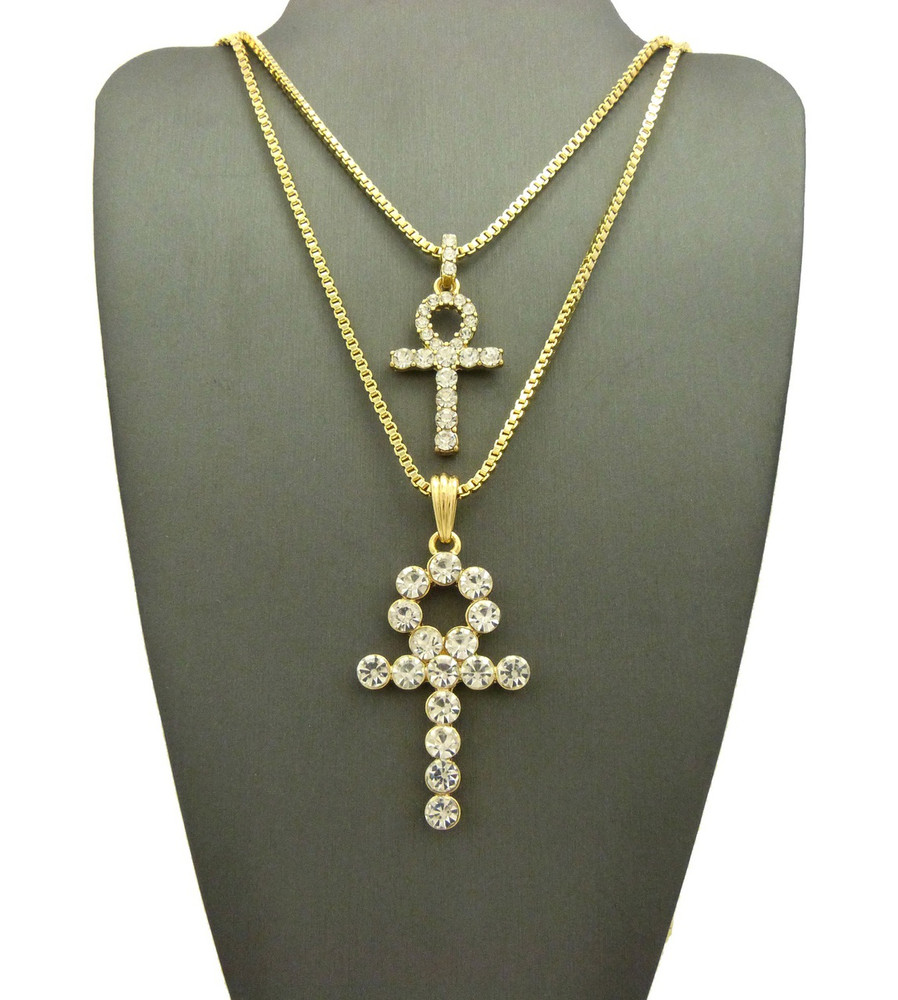 14k Double Diamond Cz Ankh Cross Pendant Box Chain Set