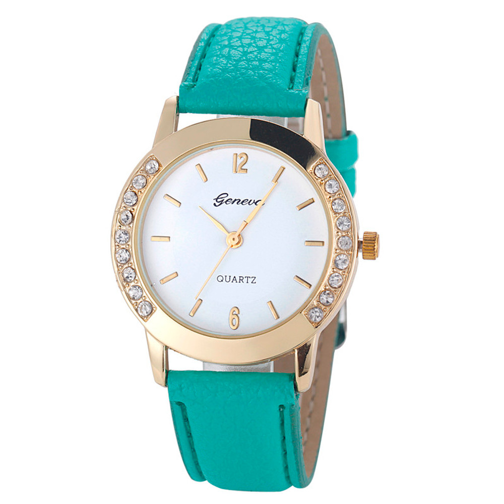 Fashion Women's Diamond Cz Analog Leather Wrist Watch