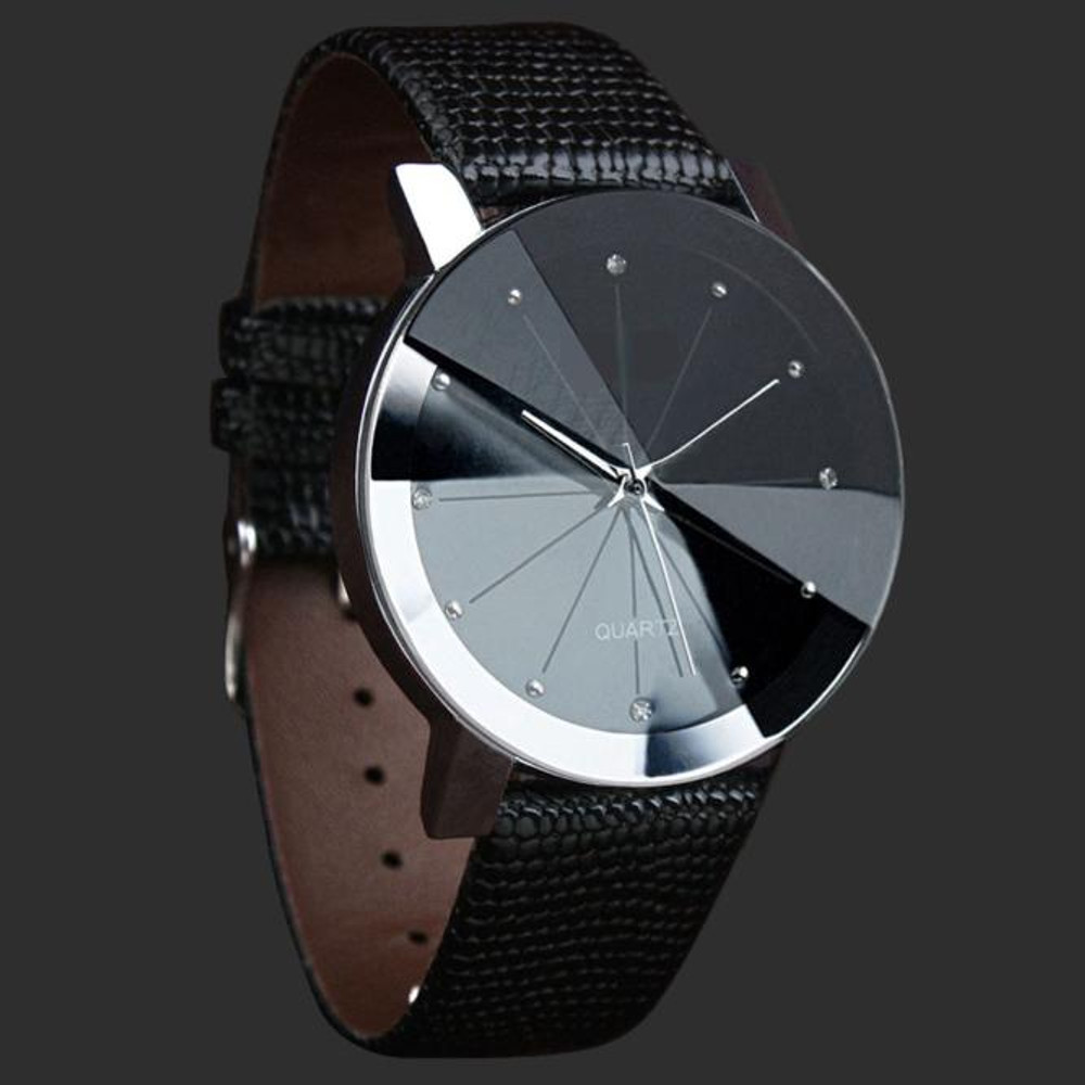 Luxury Sleek Stylish Stainless Steel Dial Leather Band Watch