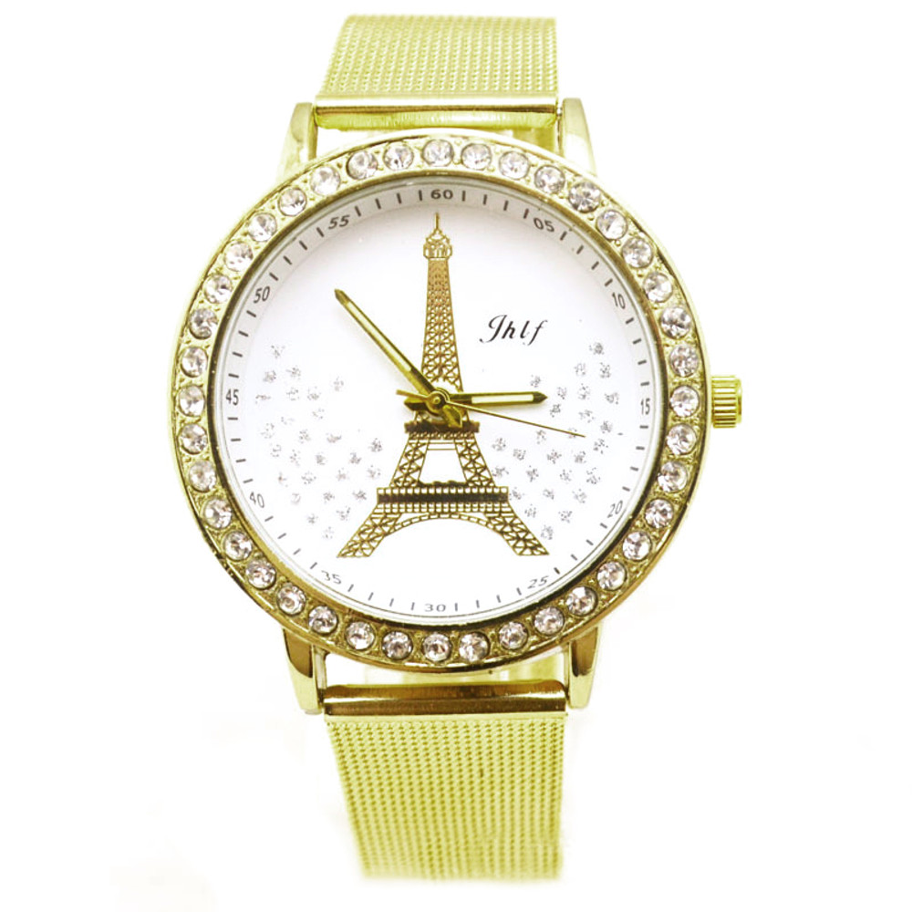 Eiffel Tower Gold Stainless Steel Mesh Band Watch