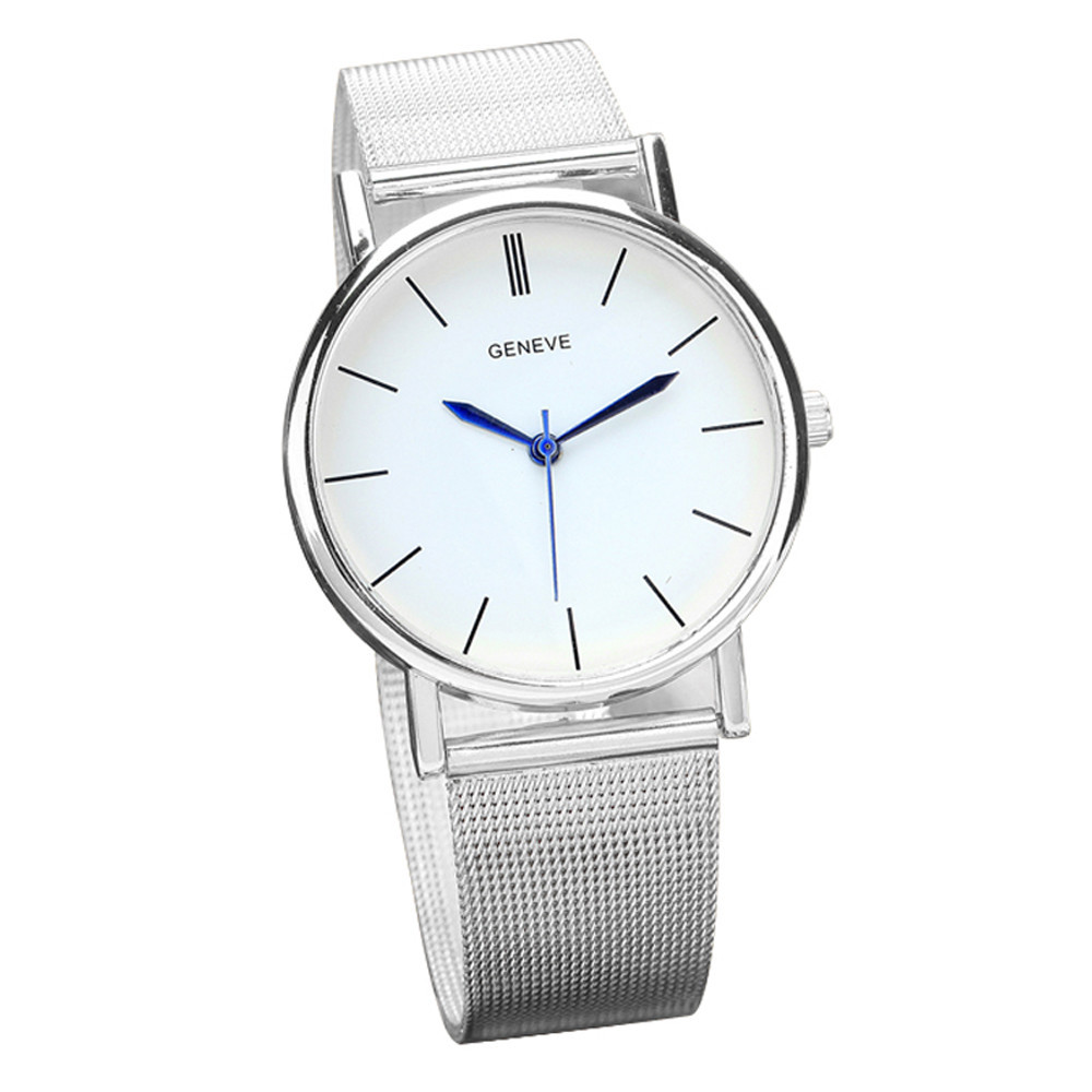 Ladies Sleek Simple Sexy  Casual Stainless Steel Watch Silver