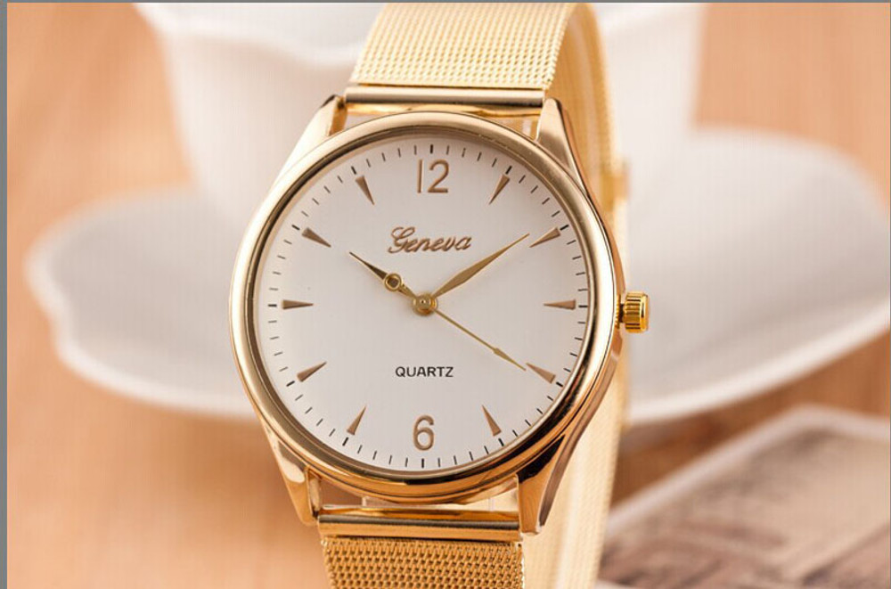 Ladies Classic Clean Sleek 14k Gold Stainless Steel Band Watch