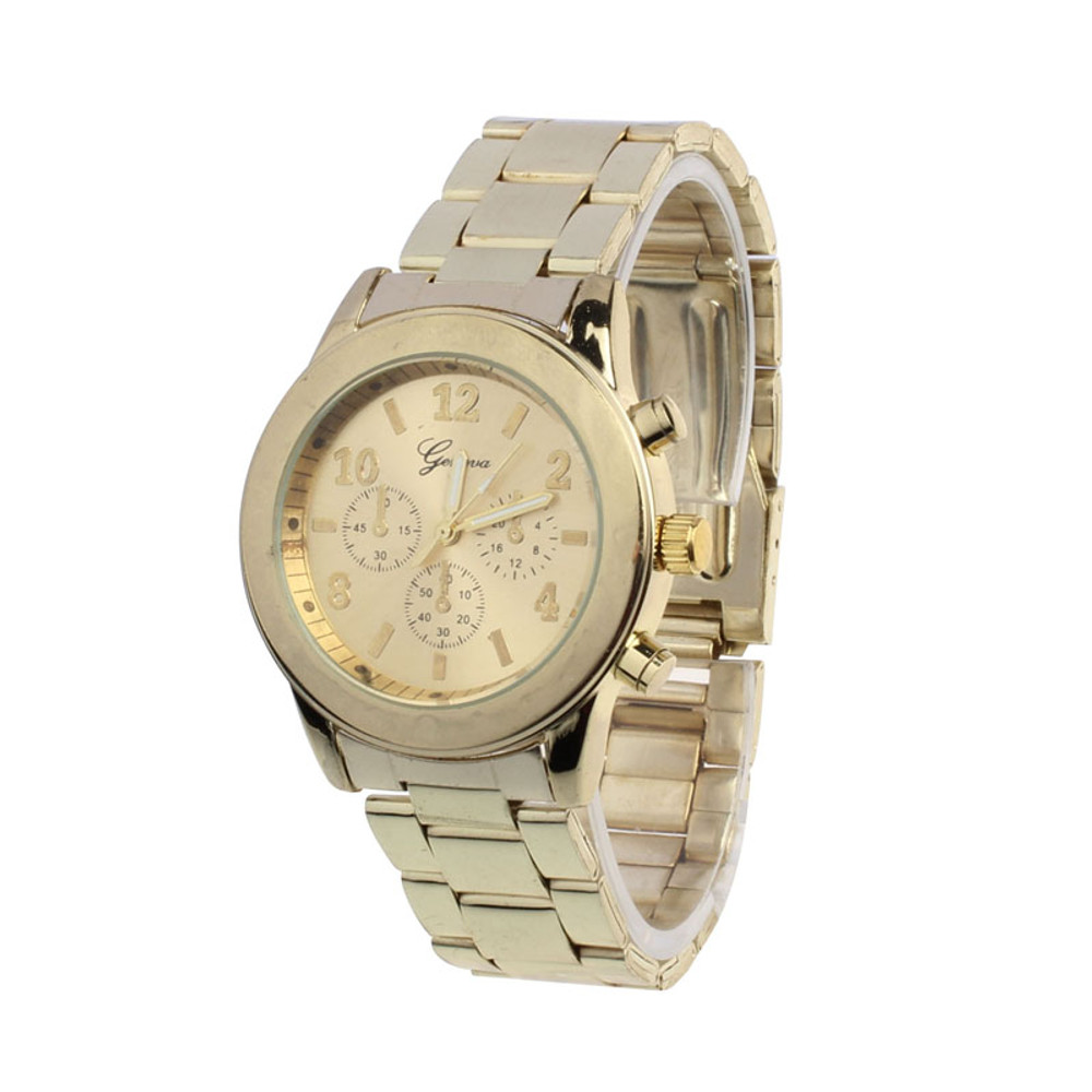 Ladies Stainless Steel Business Casual Gold Chrono Watch