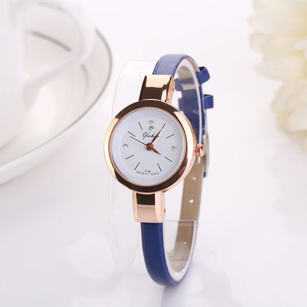 Slim Band Simulated Diamond Watch