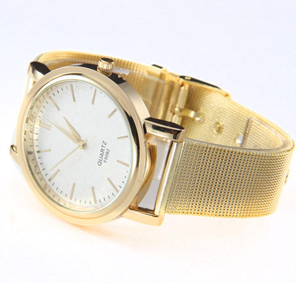 Gold Classic Sleek Design Womens Stainless Steel Wrist Watch