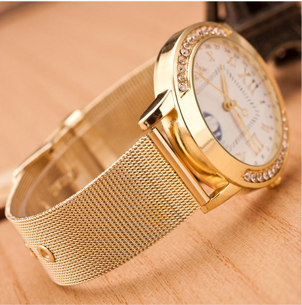 14k Gold Simulated Diamond Bezel Classic Girlfriend Watch