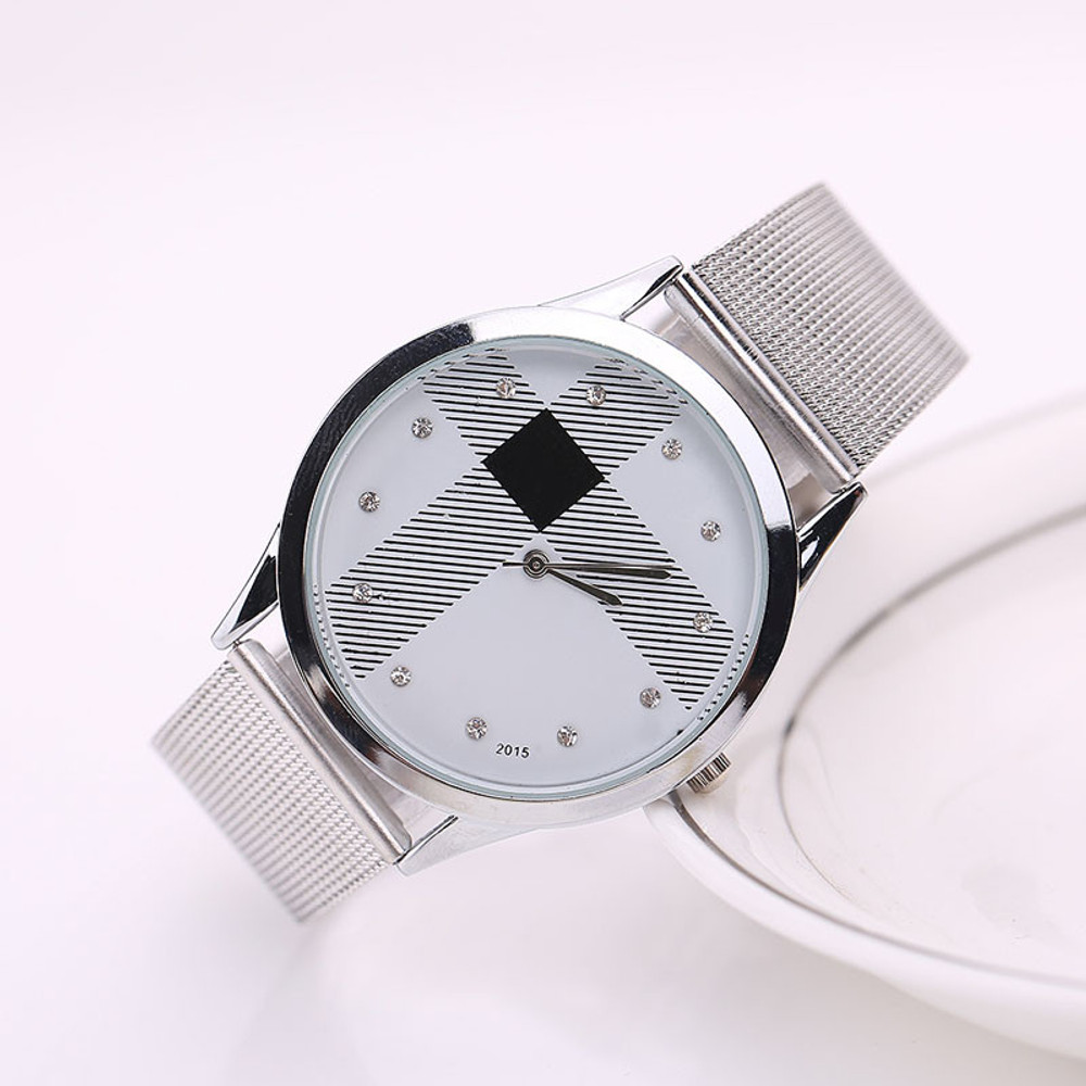 Silver Mesh Belt Simulated Diamond Stainless Steel Watch