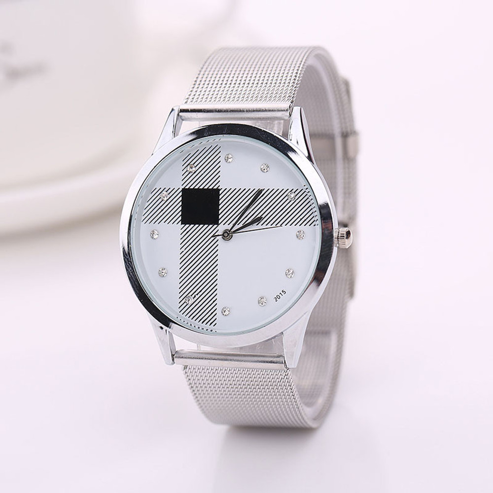 Simulated Diamond Stainless Steel Watch