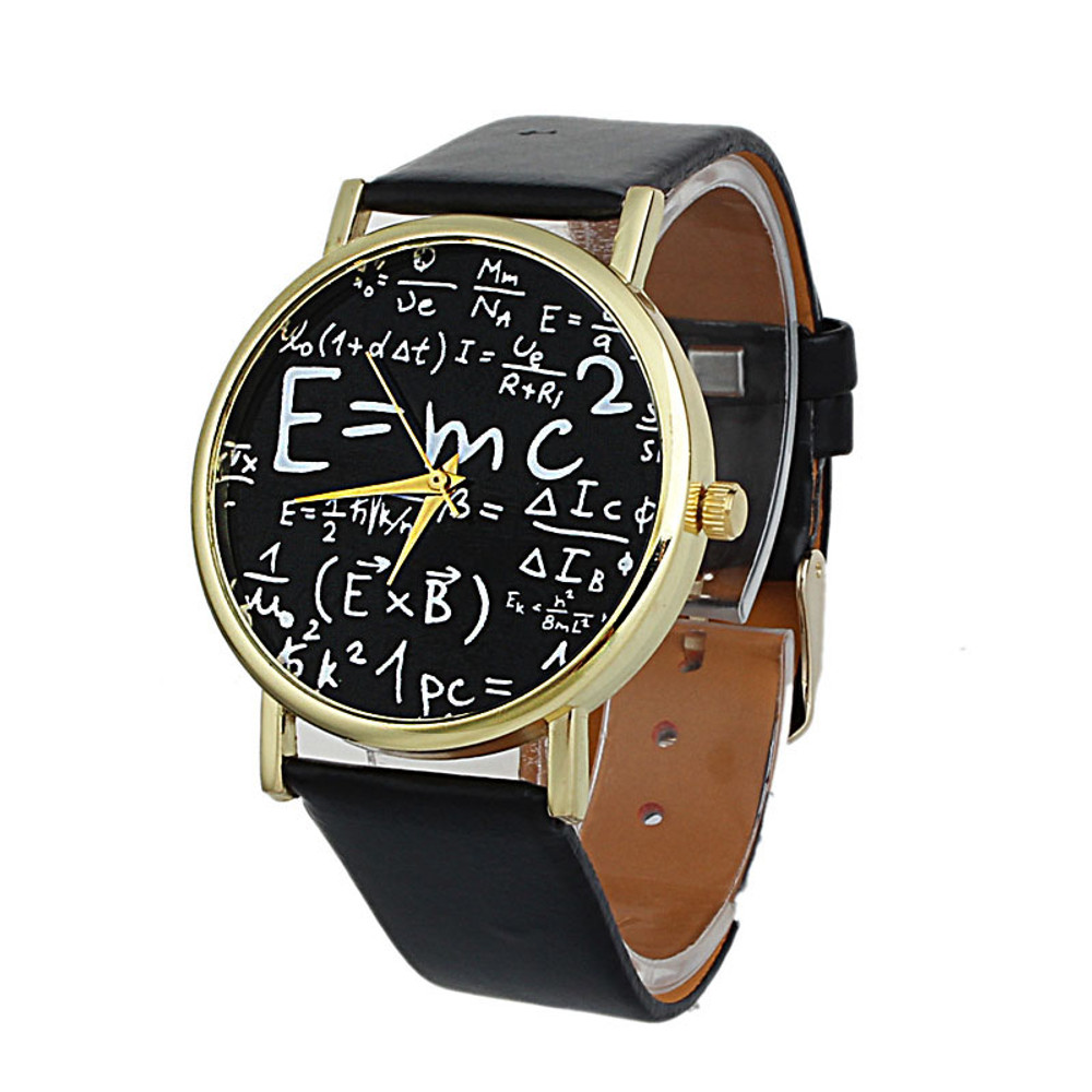 Luxury Womens E=MC Math Symbols Leather Watch