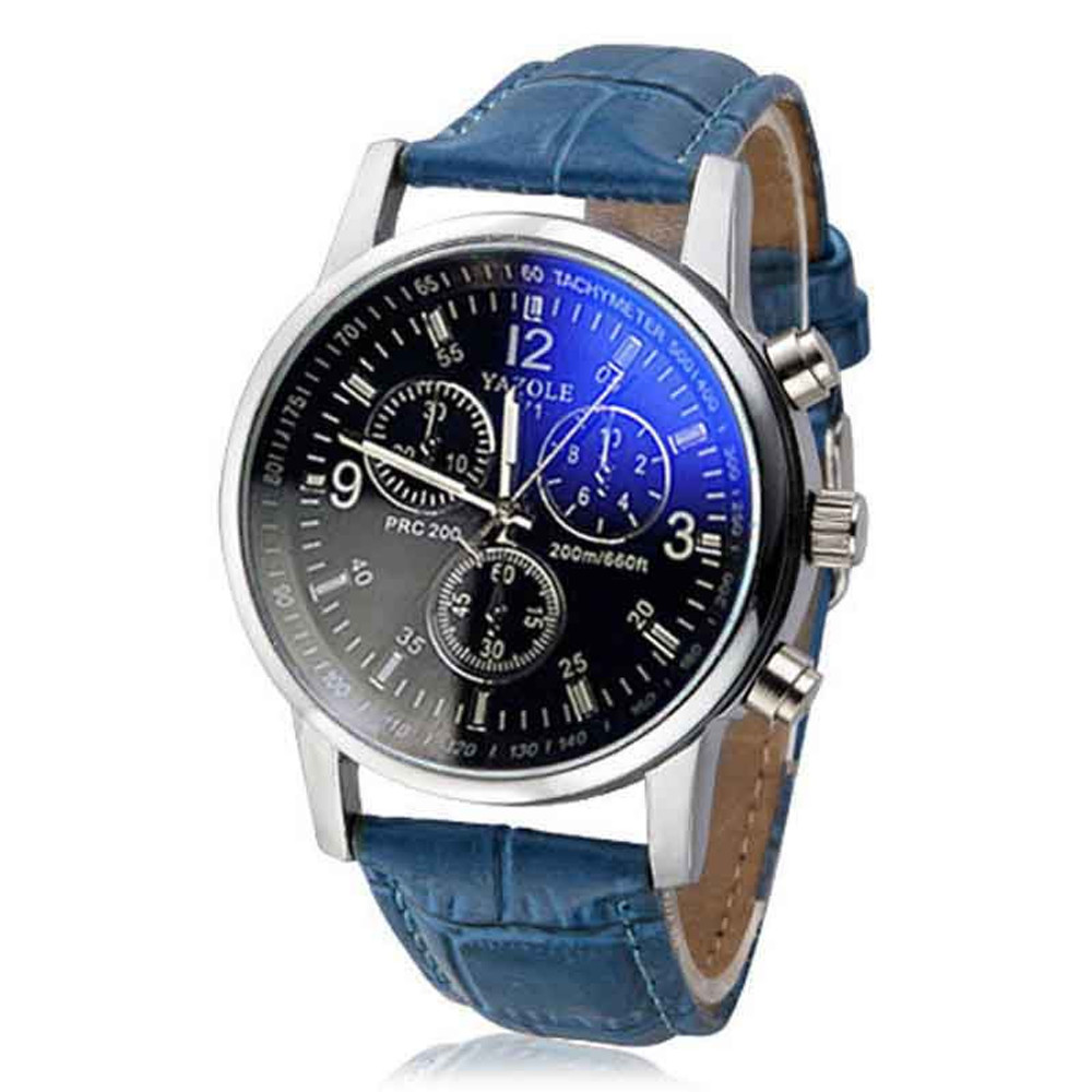 Blue Ice Leather Men's Blue Ray Glass Watch