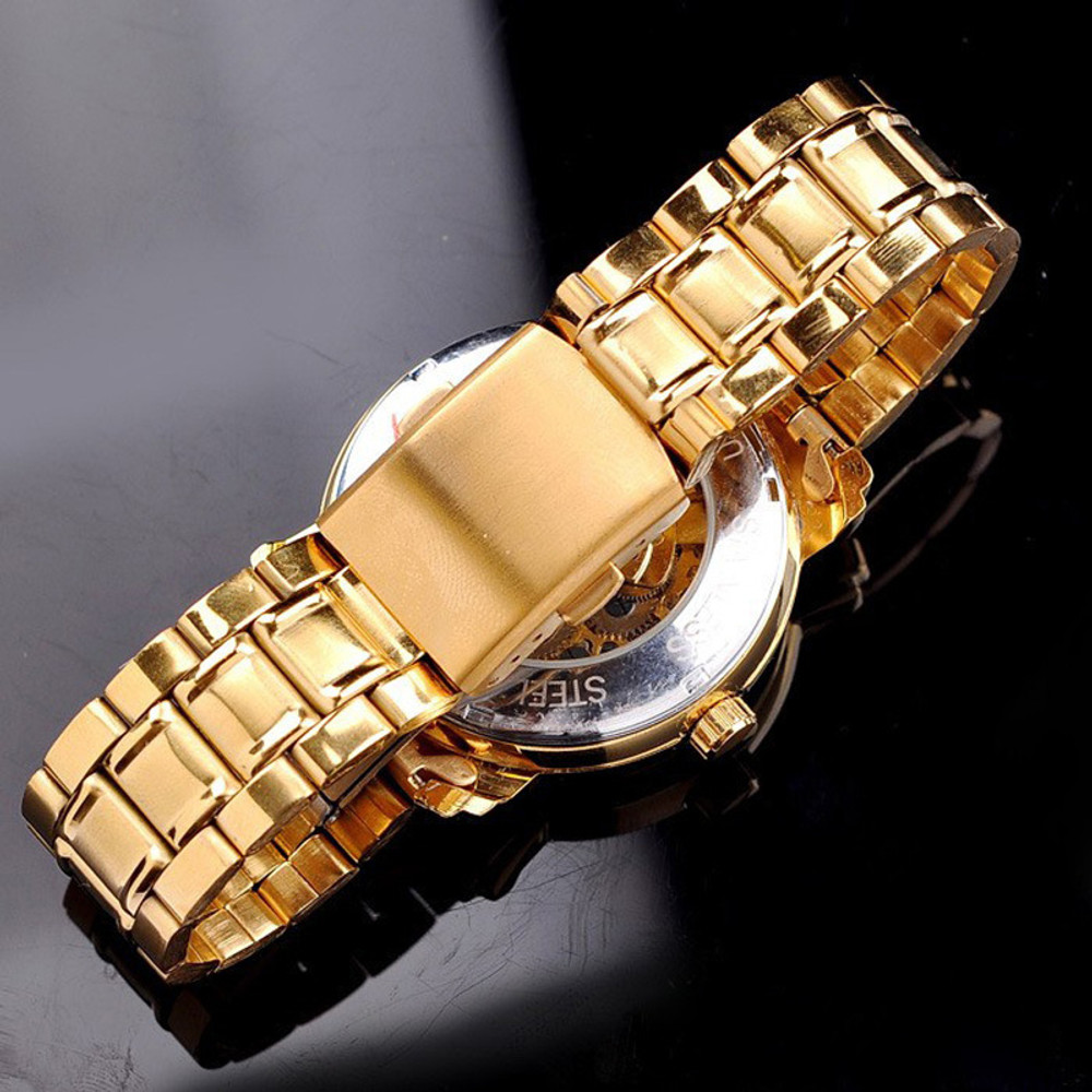 Mens 14k Gold Mechanical Automatic Self-Winding Hollow Watch