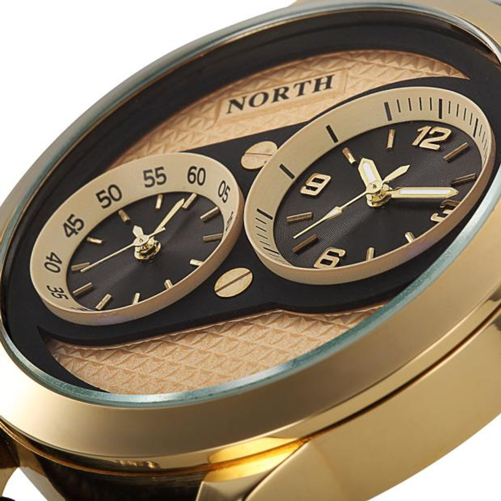 Mens Double Movements 14k Gold Leather Luxury Watch
