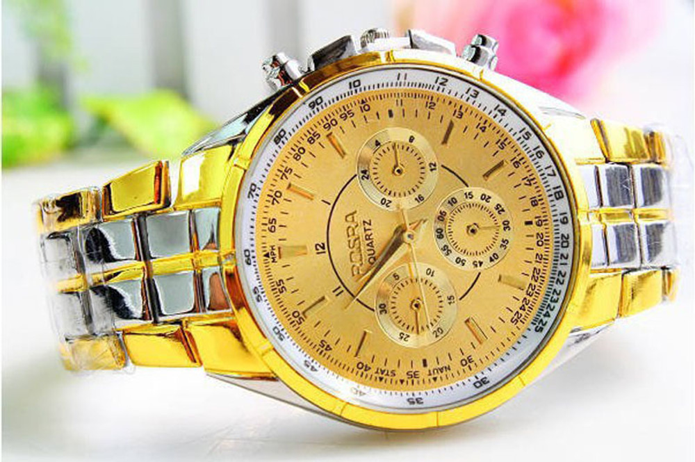 14k Gold SS Luxury Bling Bling Roman Numerals Fashion Watch
