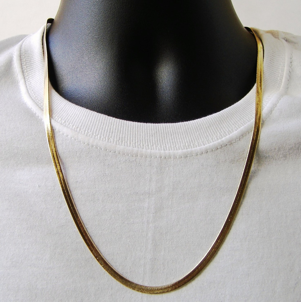 Gold Herringbone Chain Necklace