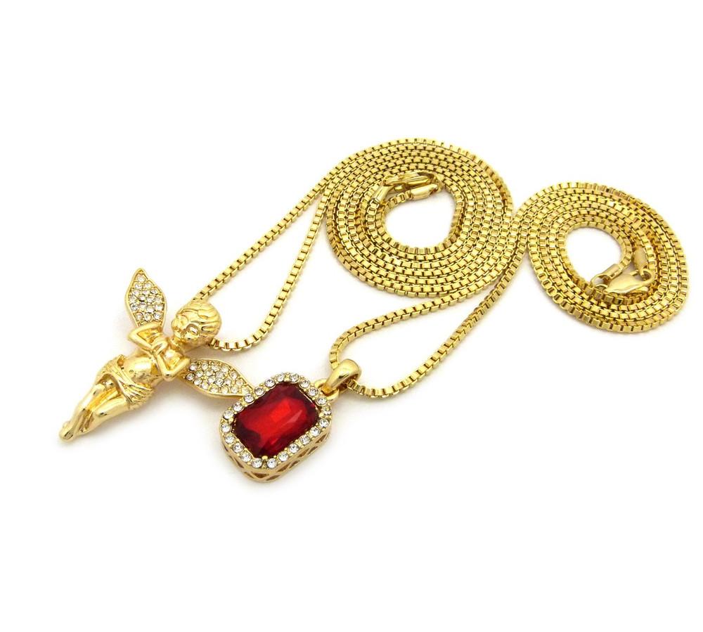 Praying Guardian Angel Ruby Gemstone 14k Gold Hip Hop Pendant