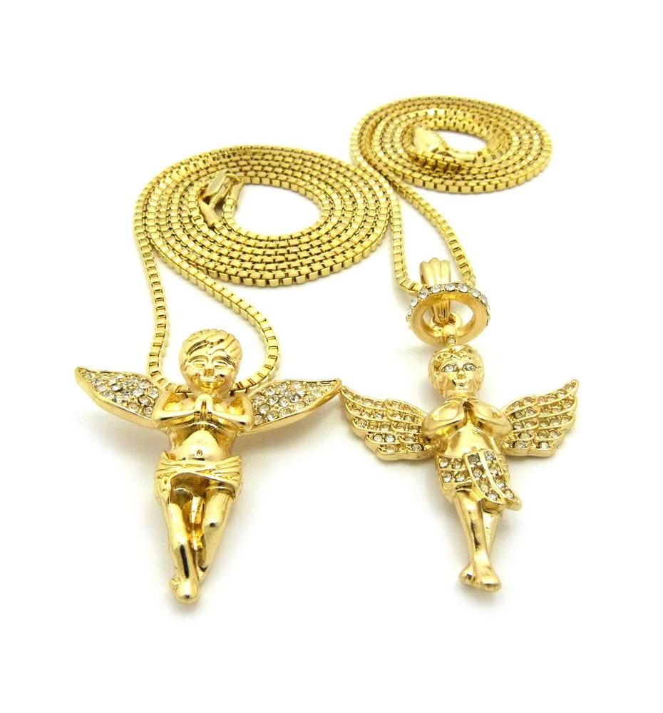 Guardian Protection Angel Praying Cherub 14k Gold Set