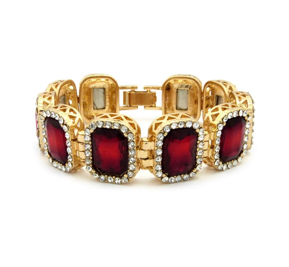 14k Gold Iced Out Ruby Red Stone Diamond Cz Premium Bracelet