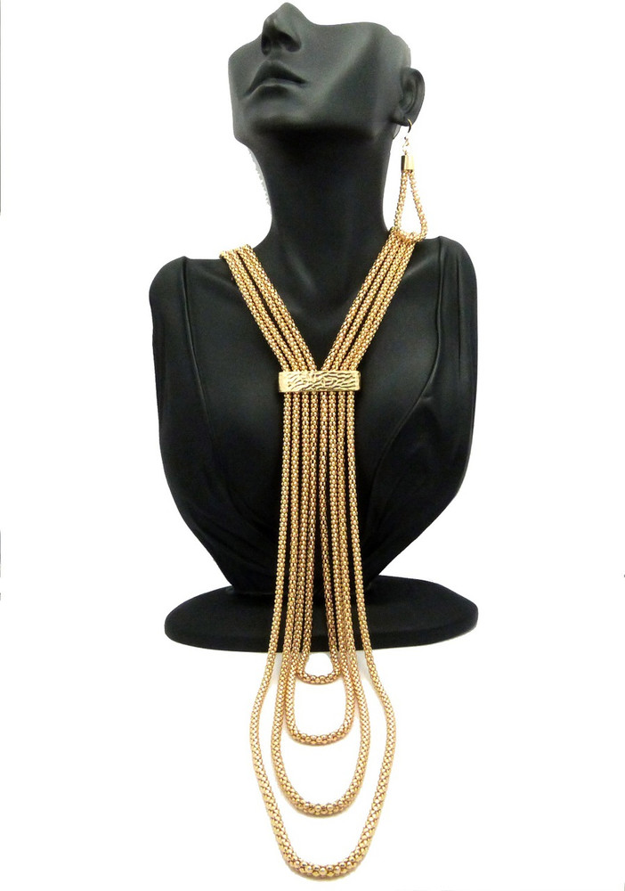 Ladies Long Lariat Necklace Earrings Set Combo 14k Gold GP